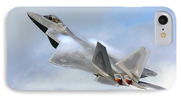 IPhone Case featuring the digital art Smokin - F22 Raptor On The Go by Pat Speirs