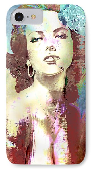 IPhone Case featuring the digital art Smoking Chick by Greg Sharpe
