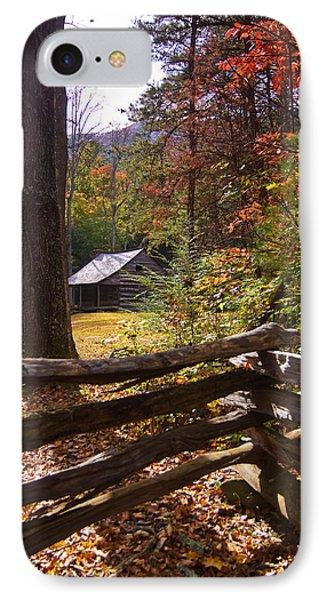 IPhone Case featuring the photograph Smoky Mountain Log Cabin by Bob Decker