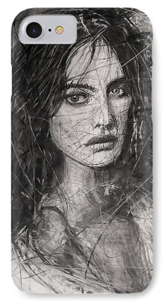 IPhone Case featuring the painting Smoky Noir... Ode To Paolo Roversi And Natalia Vodianova  by Jarko Aka Lui Grande