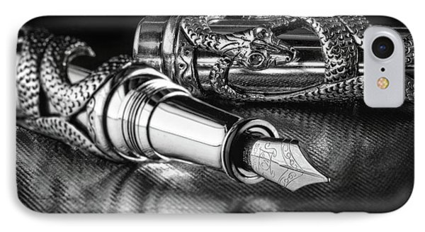 Snake Pen In Black And White IPhone Case by Tom Mc Nemar