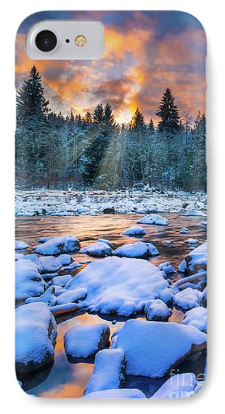 Snoqualmie Falls Sunset IPhone Case by Inge Johnsson