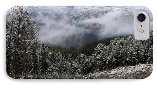 Snow And Clouds In The Mountains Phone Case by Larry Ricker