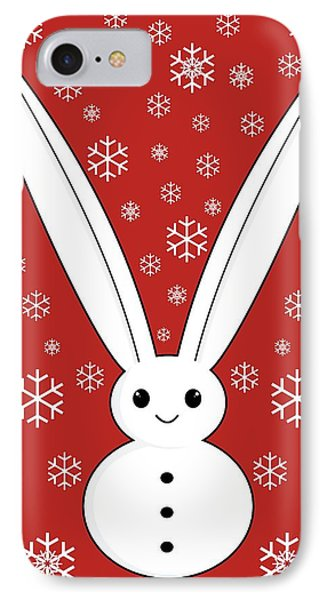 Snow Bunny And Snowflakes Red IPhone Case by Kourai