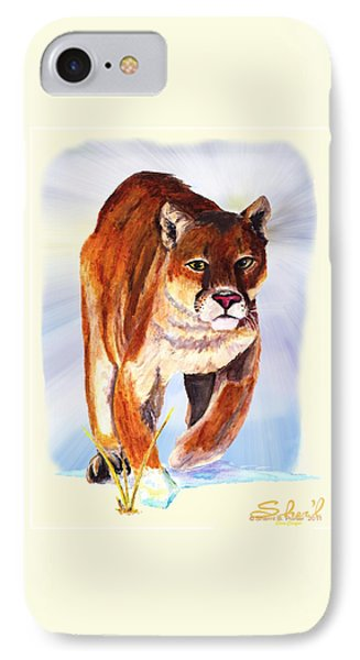 IPhone Case featuring the painting Snow Cougar by Sherril Porter