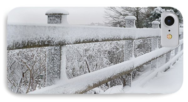 Snow Covered Fence IPhone Case by Helen Northcott