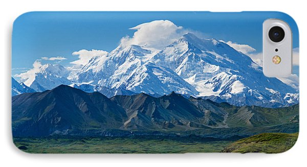 Snow-covered Mount Mckinley, Blue Sky IPhone Case by Panoramic Images