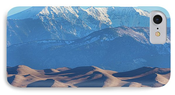 Snow Covered Rocky Mountain Peaks With Sand Dunes IPhone Case by James BO Insogna