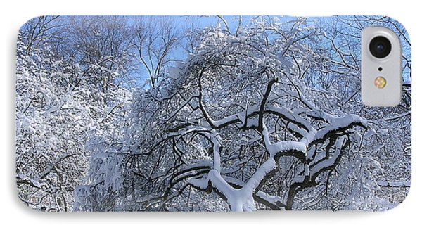 IPhone Case featuring the photograph Snow-covered Sunlit Apple Trees by Byron Varvarigos