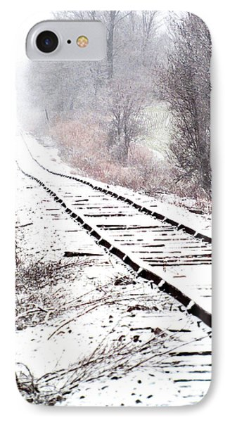 Snow Covered Wisconsin Railroad Tracks IPhone Case