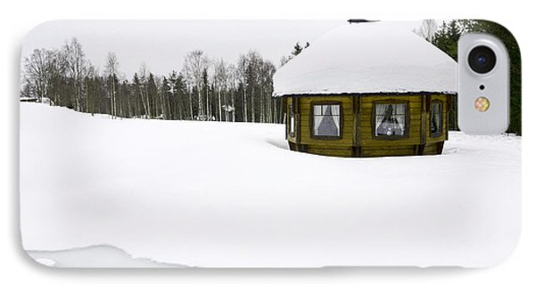 Snow Covered Wooden Cabin IPhone Case by Amir Paz