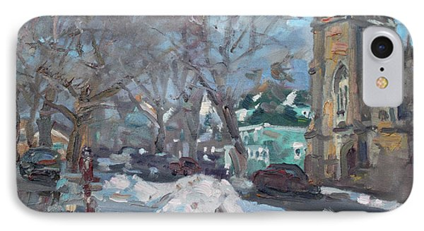 Snow Day At 7th St By Potters House Church IPhone Case by Ylli Haruni