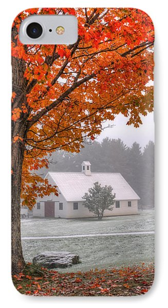 Snow Dust Over Autumn Foliage IPhone Case by Joann Vitali
