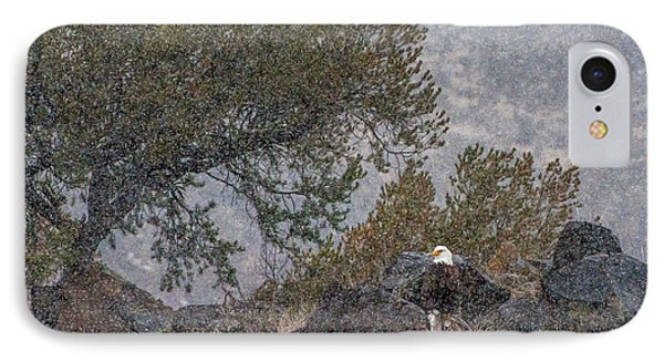 IPhone Case featuring the photograph Snow Flurry Bald Eagle by Britt Runyon