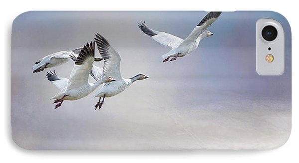 IPhone Case featuring the photograph Snow Geese In Flight by Bonnie Barry