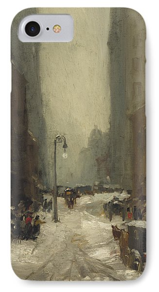 Snow In New York IPhone Case by Robert Cozad Henri