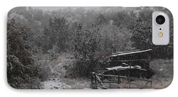 Snow In The Old Santa Fe Corral IPhone Case by Christopher Kirby