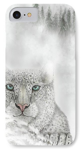 IPhone Case featuring the digital art Snow Leopard by Darren Cannell