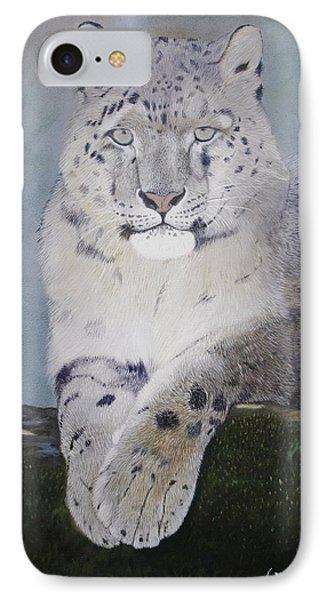Snow Leopard IPhone Case by Jean Yves Crispo