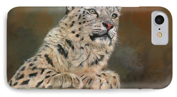 Snow Leopard On Rock IPhone Case by David Stribbling