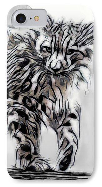 IPhone Case featuring the digital art Snow Leopard by Pennie McCracken