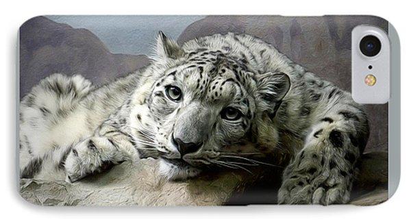 Snow Leopard Relaxing Digital Art IPhone Case by Ernie Echols