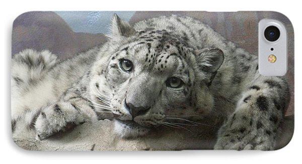 Snow Leopard Relaxing Phone Case by Ernie Echols