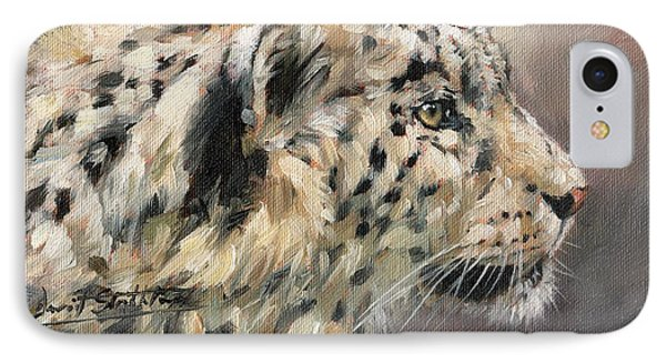 IPhone Case featuring the painting Snow Leopard Study by David Stribbling