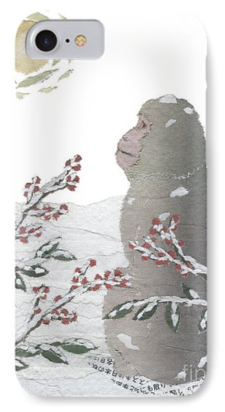 Snow Monkey And Sunrise  Phone Case by Keiko Suzuki