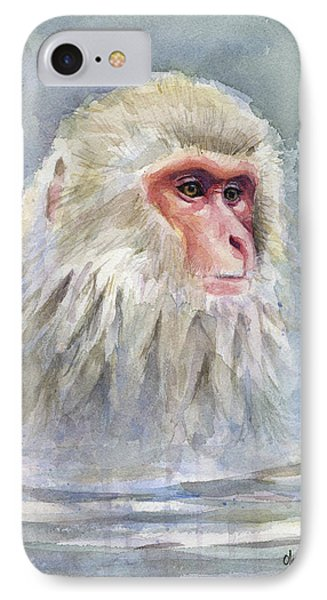 Snow Monkey Taking A Bath IPhone Case