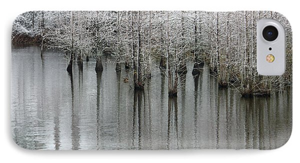 Snow On The Cypresses Phone Case by Suzanne Gaff