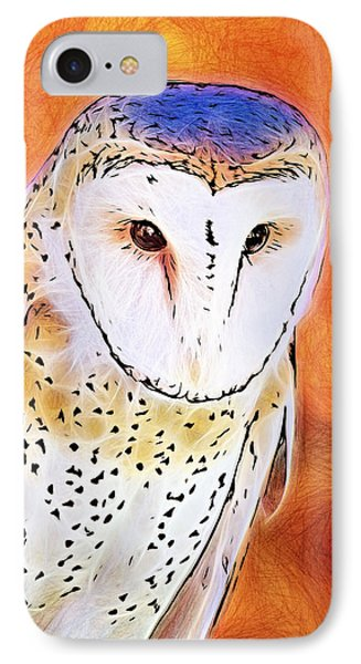 IPhone Case featuring the digital art White Face Barn Owl by Tracie Kaska