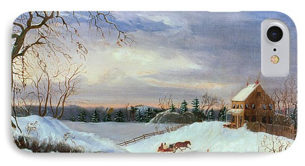 Snow Scene In New England Phone Case by American School