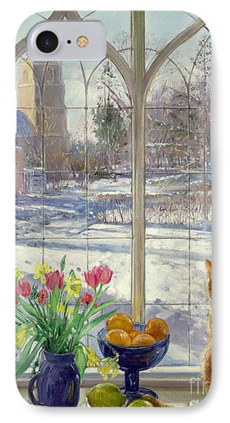 Snow Shadows And Cat IPhone Case by Timothy Easton