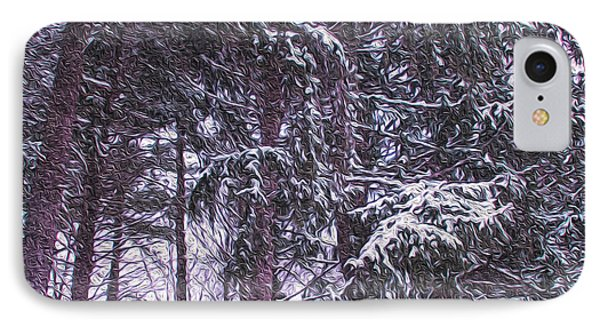 Snow Storm On Pines IPhone Case by Sandy Moulder