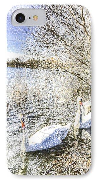 Snow Swans Art IPhone Case by David Pyatt