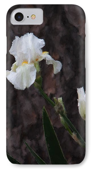 Snow White Iris On Pine IPhone Case