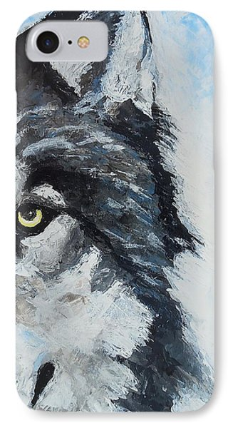 IPhone Case featuring the painting Snow Wolf by Edwin Alverio