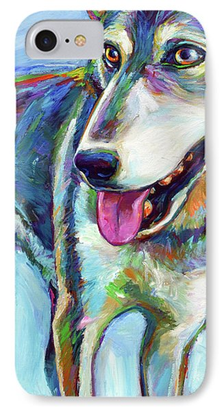 IPhone Case featuring the painting Snow Wolf by Robert Phelps