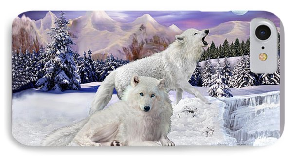 Snow Wolves Of The Wild IPhone Case by Glenn Holbrook