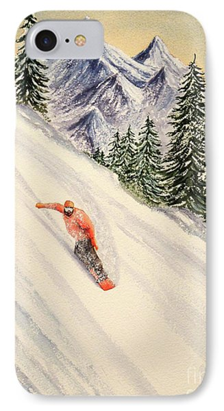 IPhone Case featuring the painting Snowboarding Free And Easy by Bill Holkham