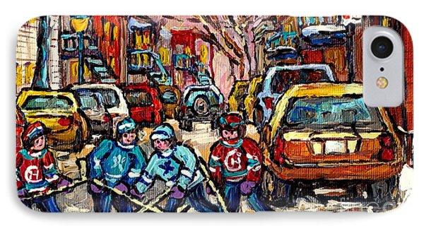 Snowfall Street Hockey Montreal Memories Original Hockey Winter Paintings For Sale By Carole Spandau IPhone Case by Carole Spandau