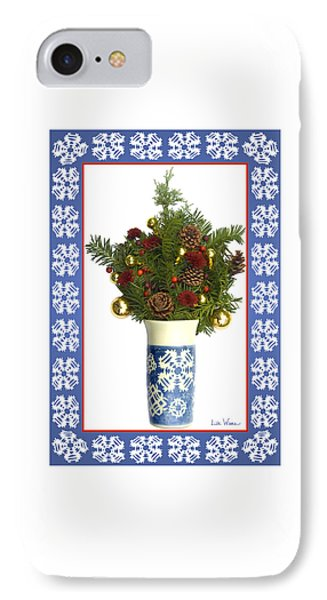 IPhone Case featuring the digital art Snowflake Vase With Christmas Regalia by Lise Winne