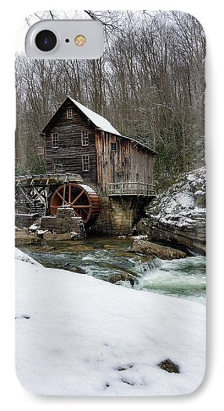 Snowing At Glade Creek Mill IPhone Case by Steve Hurt