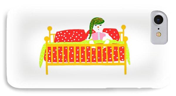 IPhone Case featuring the digital art Snowman Bedtime by Barbara Moignard