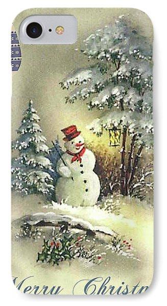 IPhone Case featuring the digital art Snowman Christmas Card by Greg Sharpe