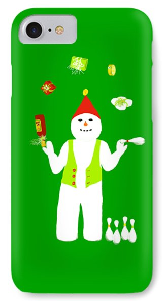 IPhone Case featuring the digital art Snowman Juggler by Barbara Moignard