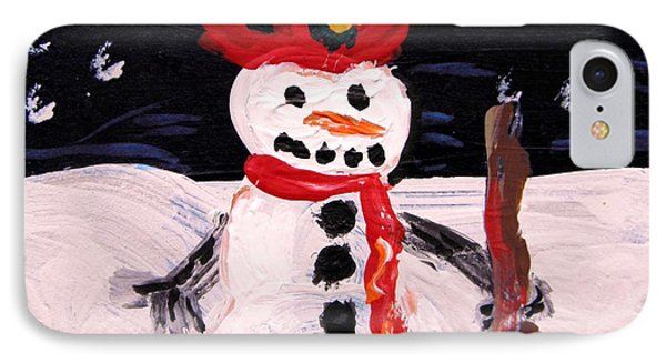 IPhone Case featuring the painting Snowman Under The Stars by Mary Carol Williams