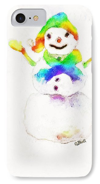 Snowman With Rainbow 1 Phone Case by Claire Bull