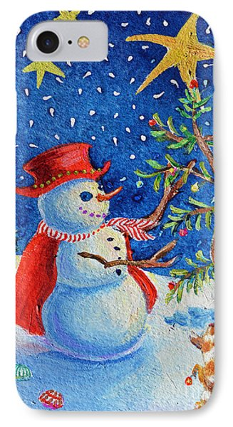 Snowmas Christmas IPhone Case by Li Newton